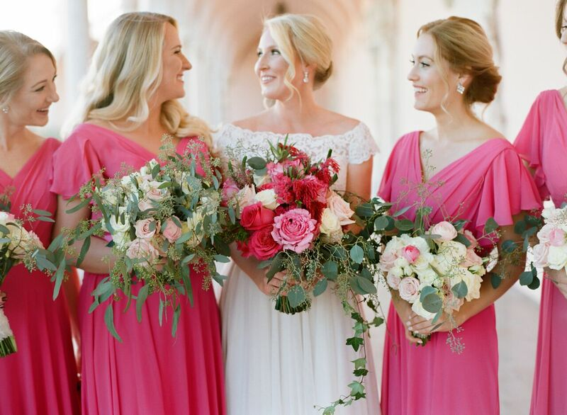 Sarasota wedding -  Ringling Museum wedding – Sarasota wedding planner - magenta brides maids dresses - pink and fuchsia bouquets