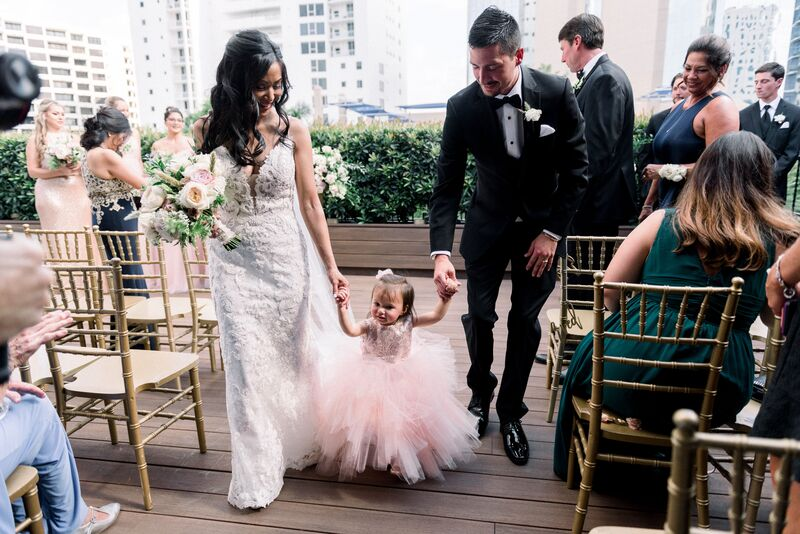 Jennifer Matteo Event Planning – Sarasota Wedding Planner – Sarasota wedding – Sage SRQ – pink and gold wedding – Sarasota root top wedding ceremony- Sarasota intimate wedding - bride and groom with daughter