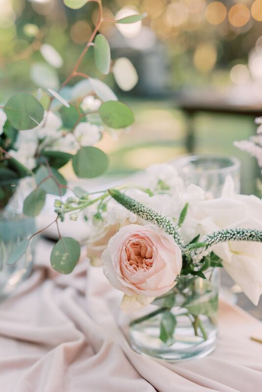pink and white floral decor at an outdoor Siesta Key wedding