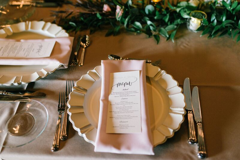 Jennifer Matteo Event Planning – Sarasota wedding planner – Sarasota luxury wedding planner – Sarasota weddings- Sarasota luxury weddings – Marie Selby Botanical Gardens – Marie Selby Gardens – Marie Selby Gardens wedding - vintage white charge plates - pink napkins - custom menu cards