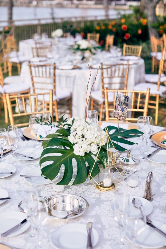 Jennifer Matteo Event Planning – Sarasota wedding planner- The Ritz-Carlton Sarasota – Ritz-Carlton Sarasota wedding- foodies – tropical floral – outdoor Sarasota wedding reception - tropical centerpieces - gold charge plates