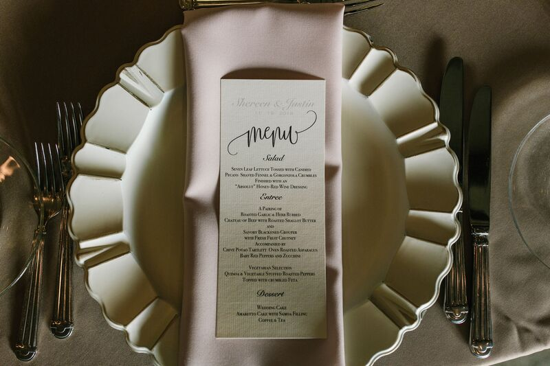 Jennifer Matteo Event Planning – Sarasota wedding planner – Sarasota luxury wedding planner – Sarasota weddings- Sarasota luxury weddings – Marie Selby Botanical Gardens – Marie Selby Gardens – Marie Selby Gardens wedding - custom menu card