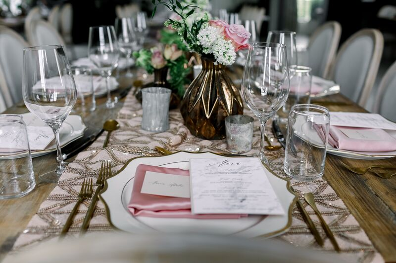 Jennifer Matteo Event Planning – Sarasota Wedding Planner – Sarasota wedding – Sage SRQ – pink and gold wedding – Sarasota root top wedding ceremony- Sarasota intimate wedding - pink table runner with crystal embroidery - custom menu cards - pink satin napkins - pink and white floral centerpieces