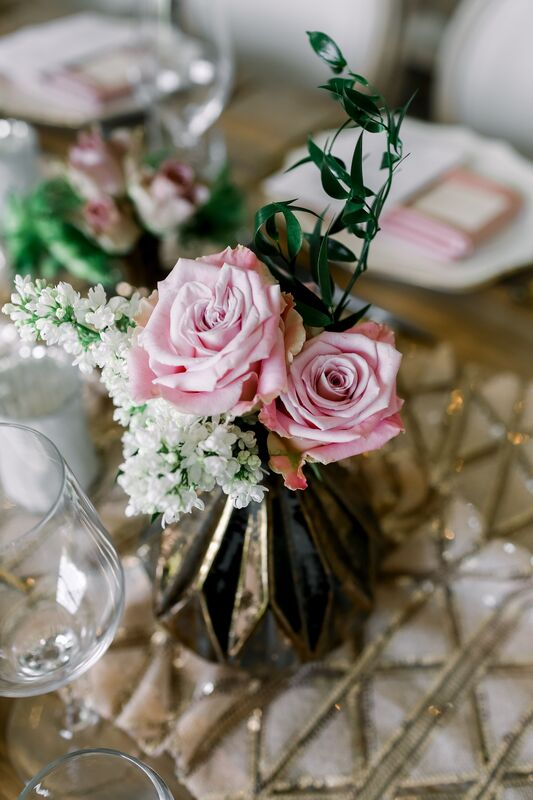 Jennifer Matteo Event Planning – Sarasota Wedding Planner – Sarasota wedding – Sage SRQ – pink and gold wedding – Sarasota root top wedding ceremony- Sarasota intimate wedding - pink and white floral centerpieces