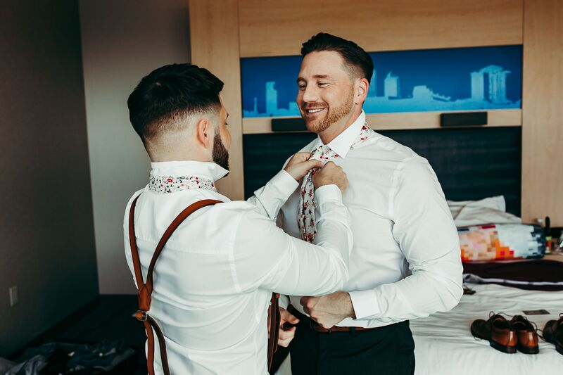 Tampa Wedding – Rooftop 220 – Armature Works- Jennifer Matteo Event Planning – Armature Works Wedding – Tampa wedding planner – Tampa LGBTQ wedding - two grooms - getting ready