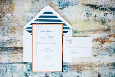 Sarasota wedding -Jennifer Matteo Event Planning - Sarasota Wedding Planner - custom invitation - navy and rose gold invitation